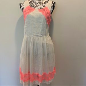 Free People Orange Lace and Cream Dress Size 10
